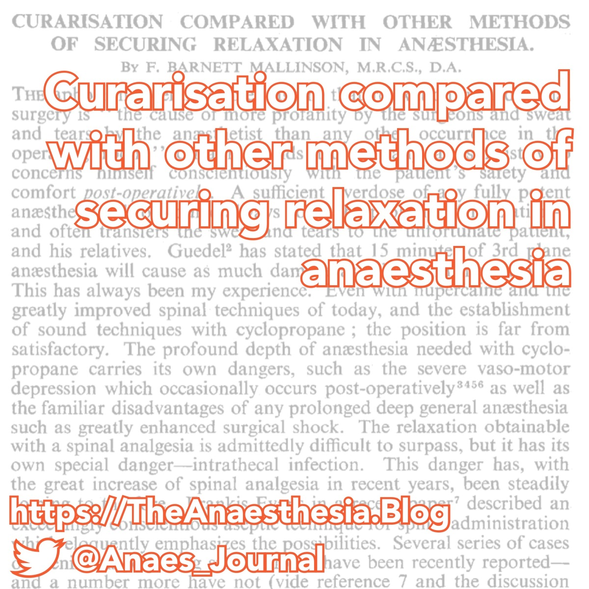 Curarisation compared with other methods of securing relaxation in anaesthesia